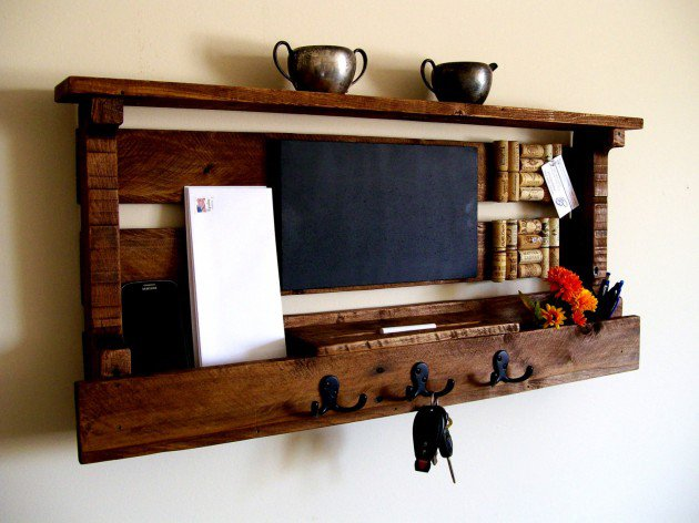 Mail Organizer with a Wine Cork Board, Chalk Board, Key Rack, Coat Rack and Hat Rack