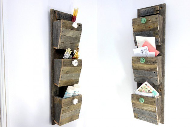 Personalized Mail Organizer from Reclaimed Wood