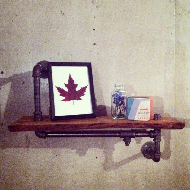 Reclaimed wood shelf with Industrial pipe arms