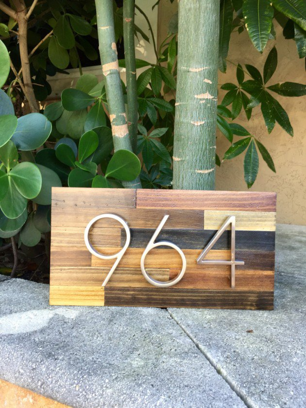 Hand made reclaimed wood home address plaques
