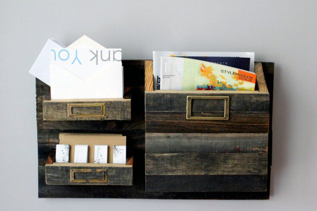 Rustic Wall Mounted Magazine Holder and Mail organizer