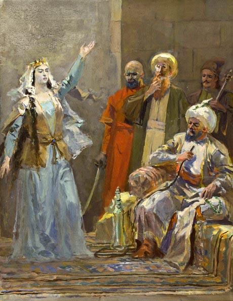 Հ. Թումանյանի «Թմկաբերդի առումը» պոեմի նկարազարդում. Իսաբեկյան Էդուարդ Հմայակի, 1955, ստվարաթուղթ, յուղաներկ, 31×24