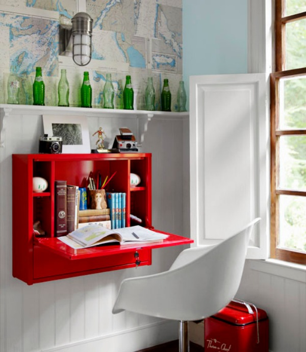 red-fold-down-desk-Space-Saving-Hideaway-Desks-for-Small-Apartment-Designs
